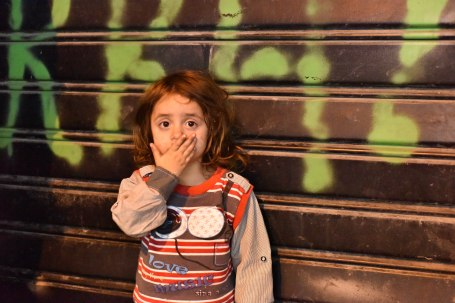 Istanbul, Turkey,November21,2015. Young girl on the street in Sirkeci.